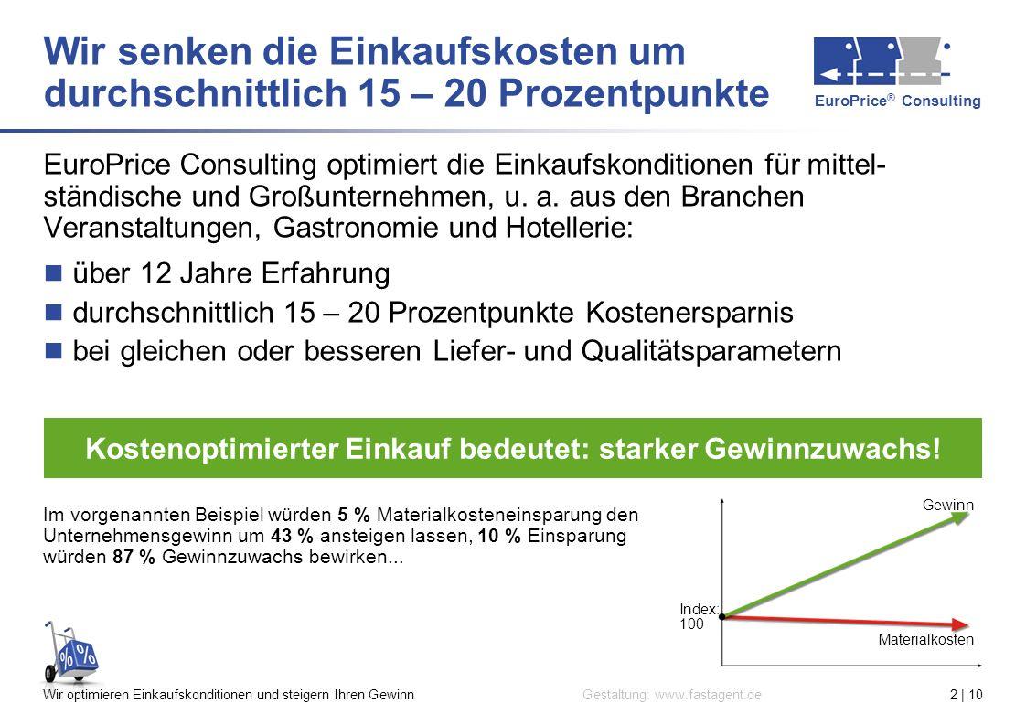 EuroPrice ® Consulting Gestaltung: www.fastagent.deWir optimieren Einkaufskonditionen und steigern Ihren Gewinn2 | 10 Index: 100 Gewinn Materialkosten