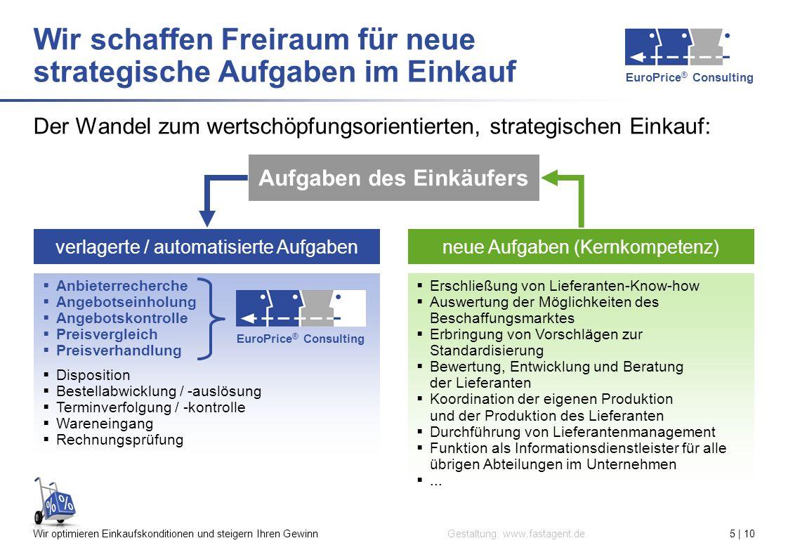 EuroPrice ® Consulting Gestaltung: www.fastagent.deWir optimieren Einkaufskonditionen und steigern Ihren Gewinn5 | 10 Der Wandel zum wertschöpfungsori