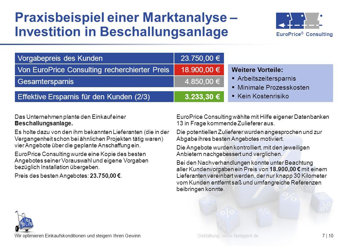 EuroPrice ® Consulting Gestaltung: www.fastagent.deWir optimieren Einkaufskonditionen und steigern Ihren Gewinn7 | 10 Praxisbeispiel einer Marktanalys