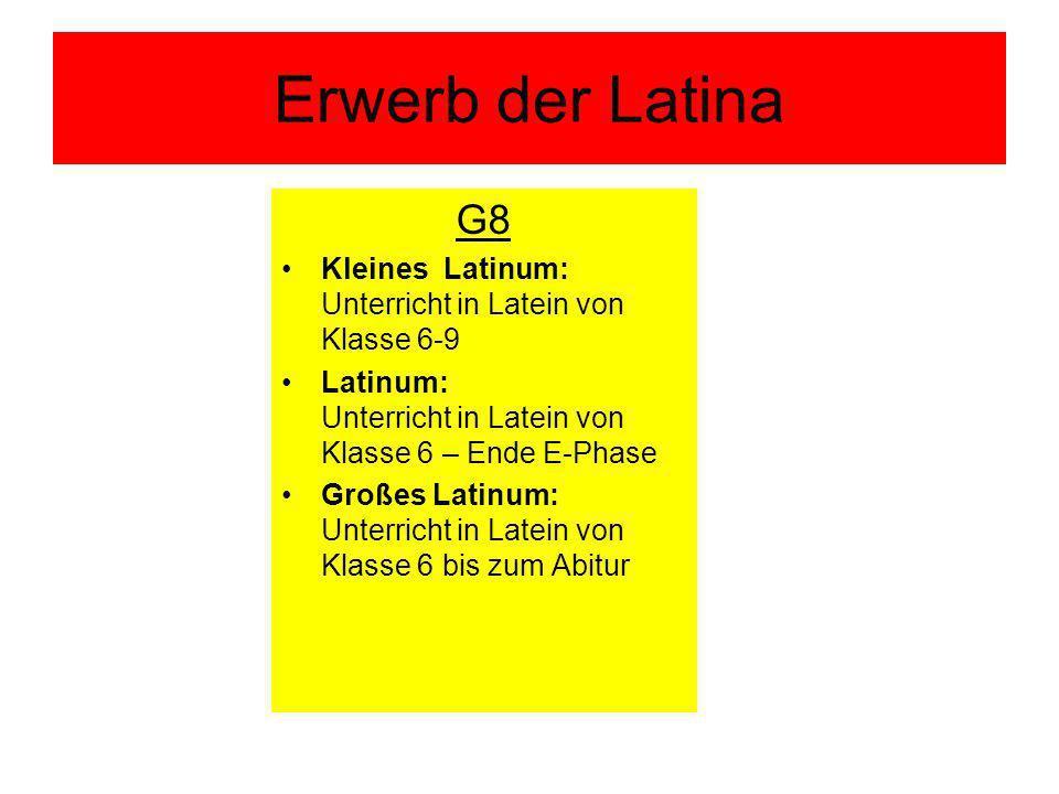 Erwerb der Latina G8 Kleines Latinum: Unterricht in Latein von Klasse 6-9 Latinum: Unterricht in Latein von Klasse 6 – Ende E-Phase Großes Latinum: Unterricht in Latein von Klasse 6 bis zum Abitur
