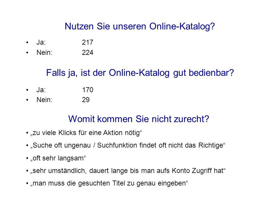 Nutzen Sie unseren Online-Katalog? Ja: 217 Nein: 224 Falls ja, ist der Online-Katalog gut bedienbar? Ja:170 Nein: 29 Womit kommen Sie nicht zurecht? z