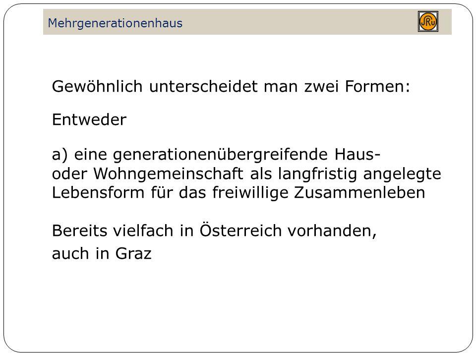 Mehrgenerationenhaus Oder: b) offener Treffpunkt, d.h.