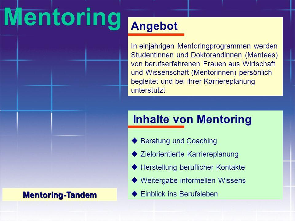 Mentoring Angebot In einjährigen Mentoringprogrammen werden Studentinnen und Doktorandinnen (Mentees) von berufserfahrenen Frauen aus Wirtschaft und W