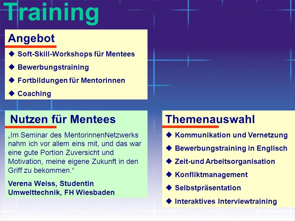 Training Angebot Soft-Skill-Workshops für Mentees Bewerbungstraining Fortbildungen für Mentorinnen Coaching Nutzen für Mentees Im Seminar des Mentorin