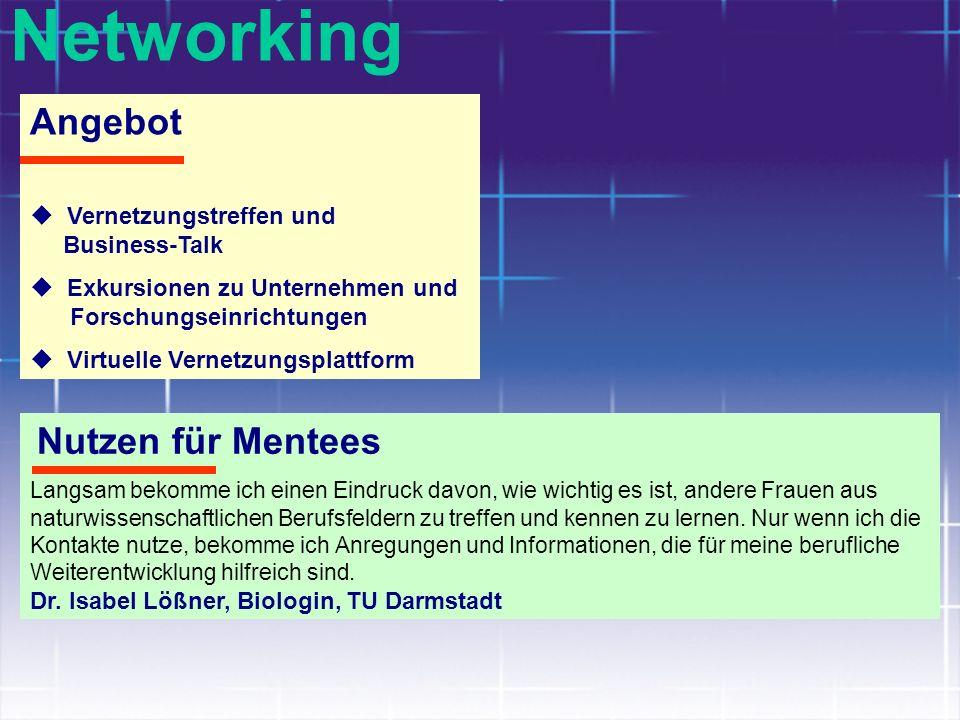 Networking Angebot Vernetzungstreffen und Business-Talk Exkursionen zu Unternehmen und Forschungseinrichtungen Virtuelle Vernetzungsplattform Nutzen f