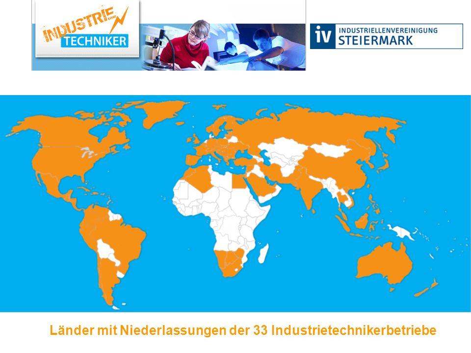 Länder mit Niederlassungen der 33 Industrietechnikerbetriebe