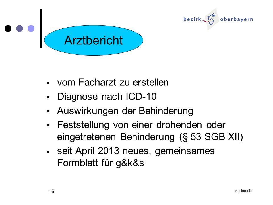 M. Nemeth 16 vom Facharzt zu erstellen Diagnose nach ICD-10 Auswirkungen der Behinderung Feststellung von einer drohenden oder eingetretenen Behinderu