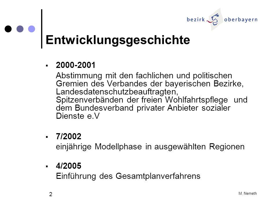 M. Nemeth 2 Entwicklungsgeschichte 2000-2001 Abstimmung mit den fachlichen und politischen Gremien des Verbandes der bayerischen Bezirke, Landesdatens