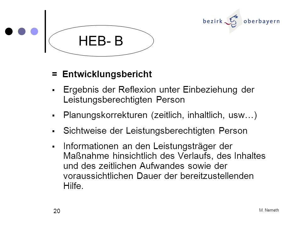 M. Nemeth 20 = Entwicklungsbericht Ergebnis der Reflexion unter Einbeziehung der Leistungsberechtigten Person Planungskorrekturen (zeitlich, inhaltlic