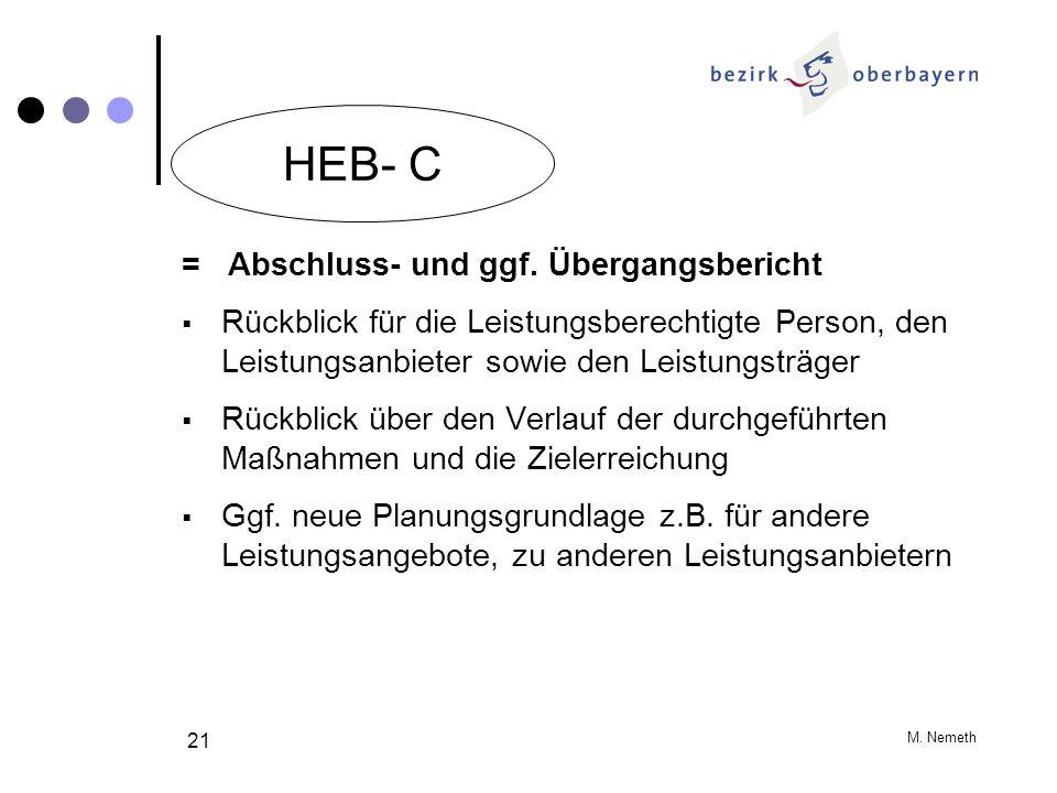 M. Nemeth 21 = Abschluss- und ggf. Übergangsbericht Rückblick für die Leistungsberechtigte Person, den Leistungsanbieter sowie den Leistungsträger Rüc