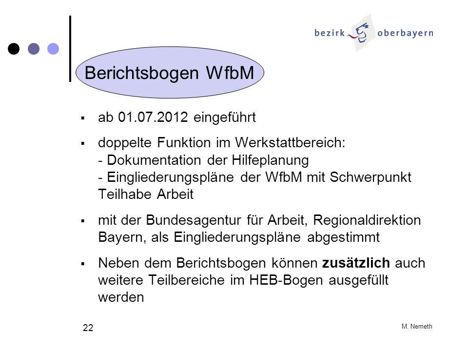 M. Nemeth 22 ab 01.07.2012 eingeführt doppelte Funktion im Werkstattbereich: - Dokumentation der Hilfeplanung - Eingliederungspläne der WfbM mit Schwe