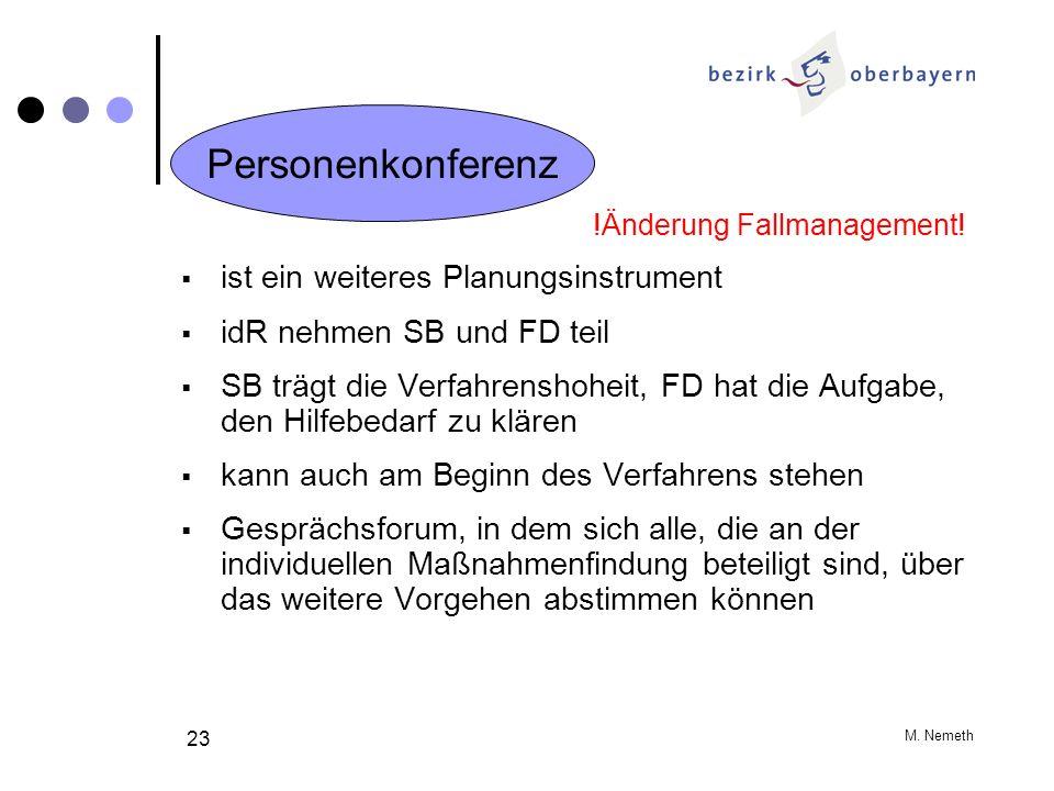 M. Nemeth 23 !Änderung Fallmanagement! ist ein weiteres Planungsinstrument idR nehmen SB und FD teil SB trägt die Verfahrenshoheit, FD hat die Aufgabe