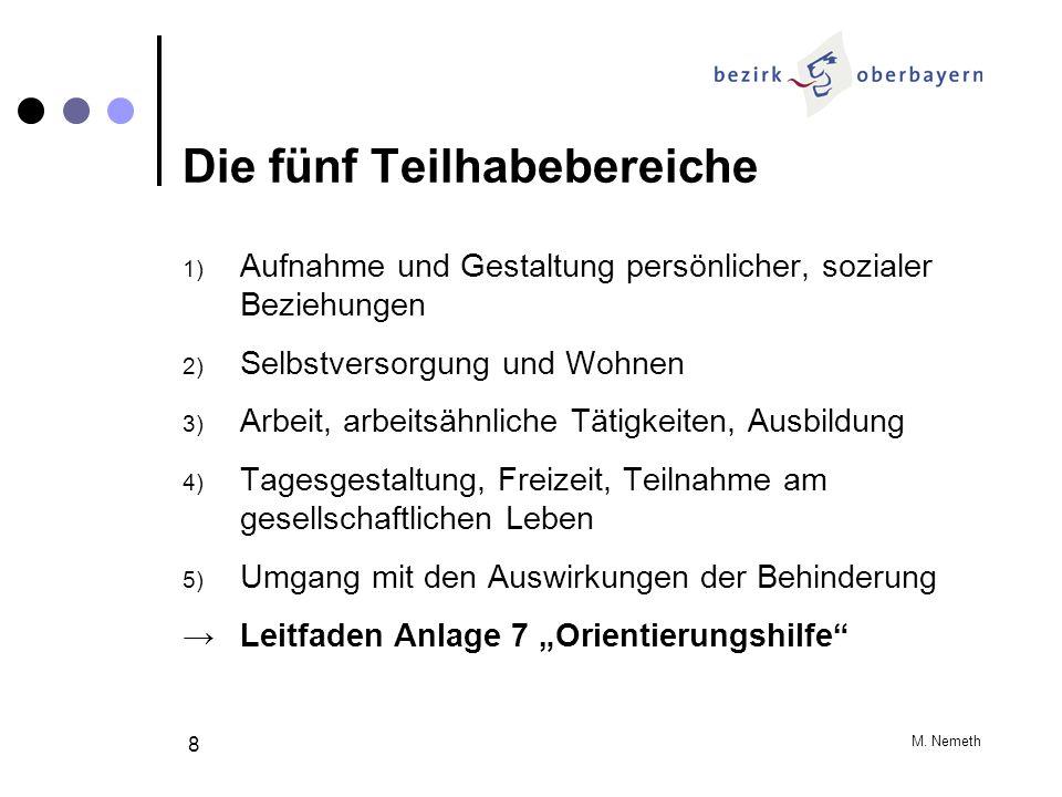 M. Nemeth 8 Die fünf Teilhabebereiche 1) Aufnahme und Gestaltung persönlicher, sozialer Beziehungen 2) Selbstversorgung und Wohnen 3) Arbeit, arbeitsä