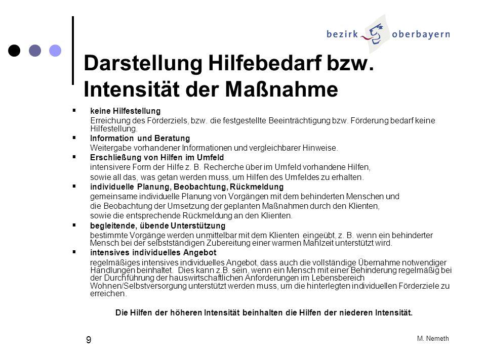 M. Nemeth 9 Darstellung Hilfebedarf bzw. Intensität der Maßnahme keine Hilfestellung Erreichung des Förderziels, bzw. die festgestellte Beeinträchtigu