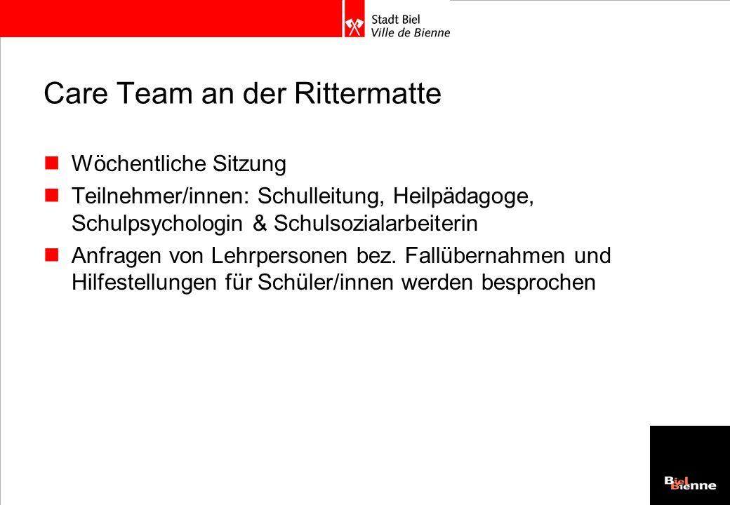 Care Team an der Rittermatte Wöchentliche Sitzung Teilnehmer/innen: Schulleitung, Heilpädagoge, Schulpsychologin & Schulsozialarbeiterin Anfragen von