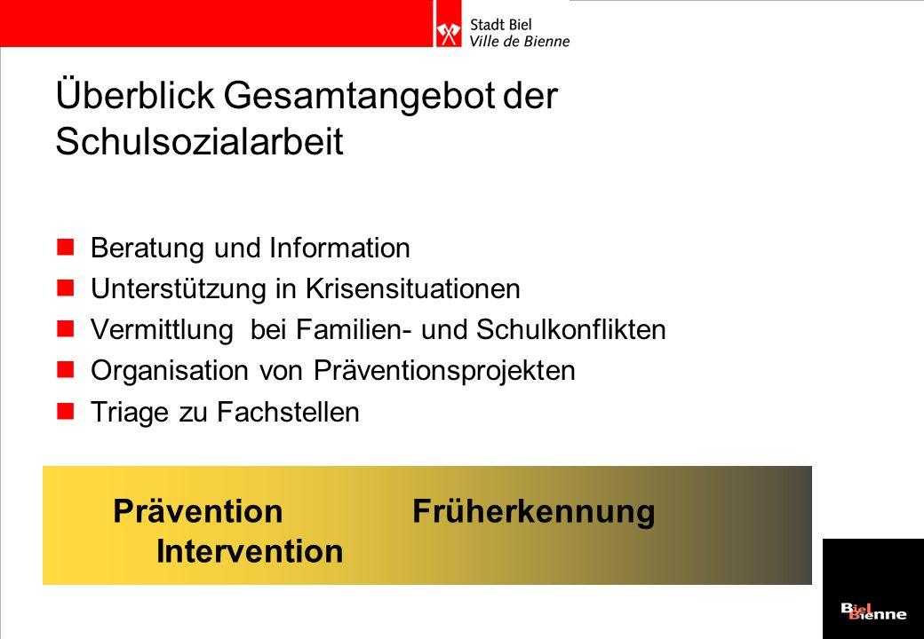 Überblick Gesamtangebot der Schulsozialarbeit Beratung und Information Unterstützung in Krisensituationen Vermittlung bei Familien- und Schulkonflikte