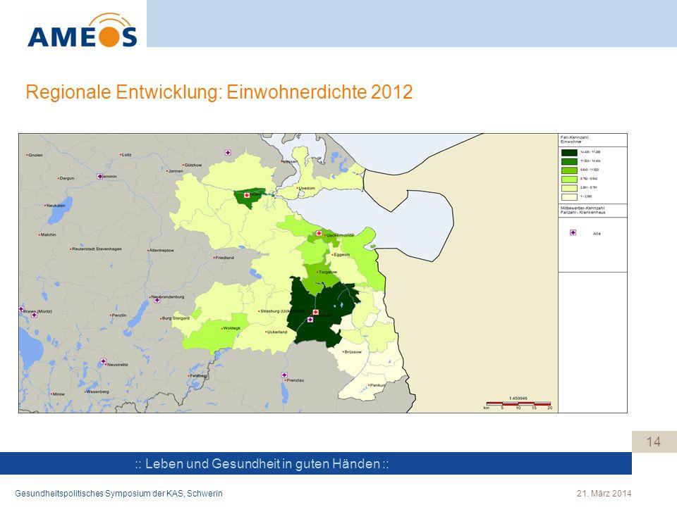 :: Leben und Gesundheit in guten Händen :: Regionale Entwicklung: Einwohnerdichte 2012 14 Gesundheitspolitisches Symposium der KAS, Schwerin21. März 2