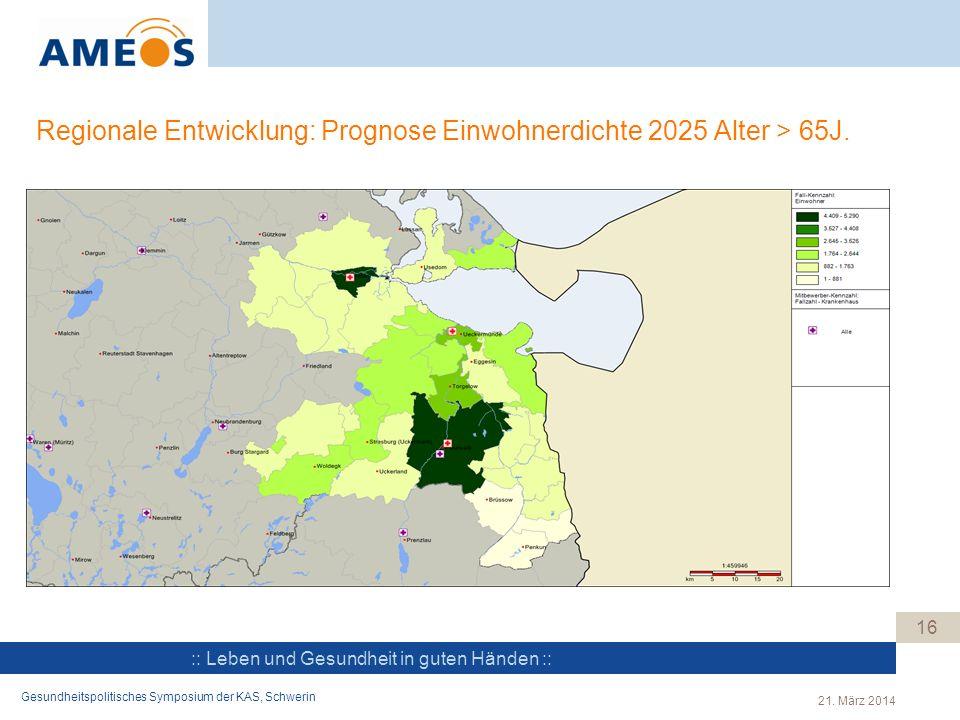 :: Leben und Gesundheit in guten Händen :: Regionale Entwicklung: Prognose Einwohnerdichte 2025 Alter > 65J. 16 Gesundheitspolitisches Symposium der K