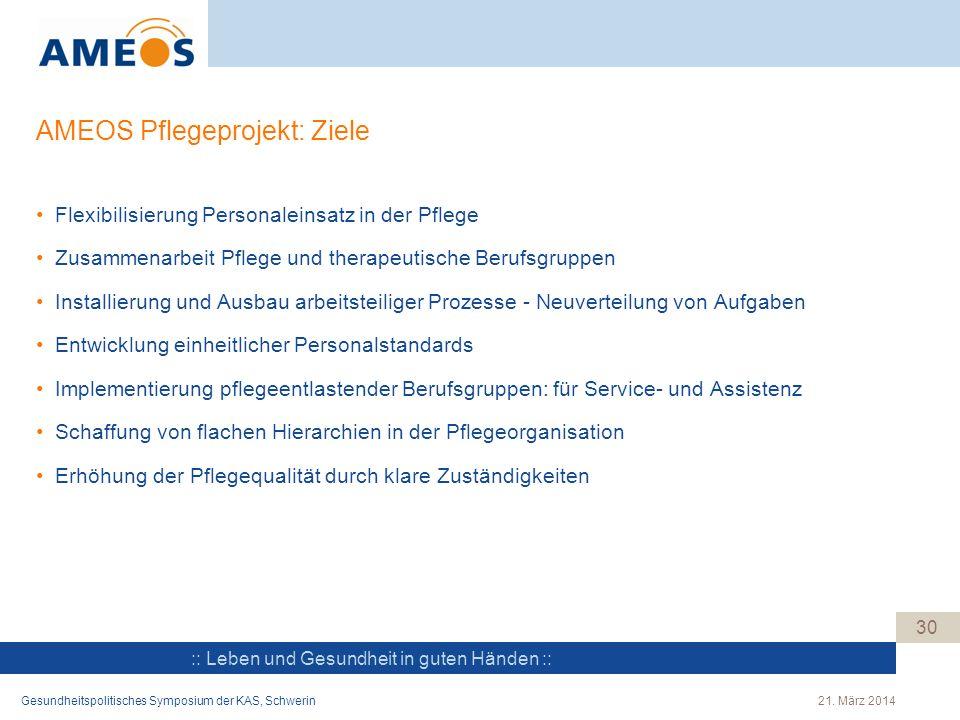 :: Leben und Gesundheit in guten Händen :: AMEOS Pflegeprojekt: Ziele Flexibilisierung Personaleinsatz in der Pflege Zusammenarbeit Pflege und therape