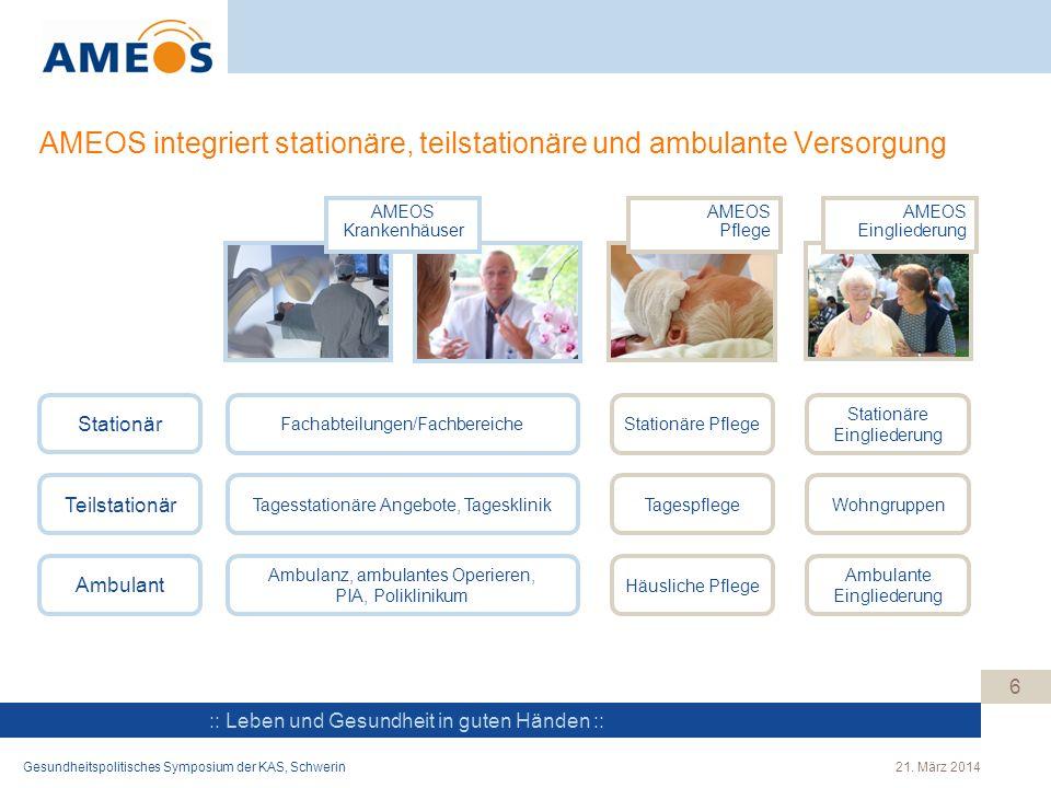 :: Leben und Gesundheit in guten Händen :: AMEOS integriert stationäre, teilstationäre und ambulante Versorgung AMEOS Krankenhäuser AMEOS Pflege AMEOS