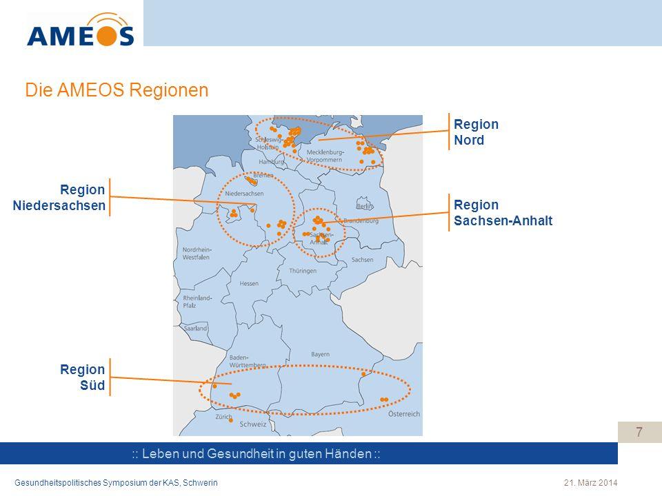 :: Leben und Gesundheit in guten Händen :: Die AMEOS Regionen 7 Region Nord Region Sachsen-Anhalt Region Niedersachsen Region Süd 21. März 2014Gesundh