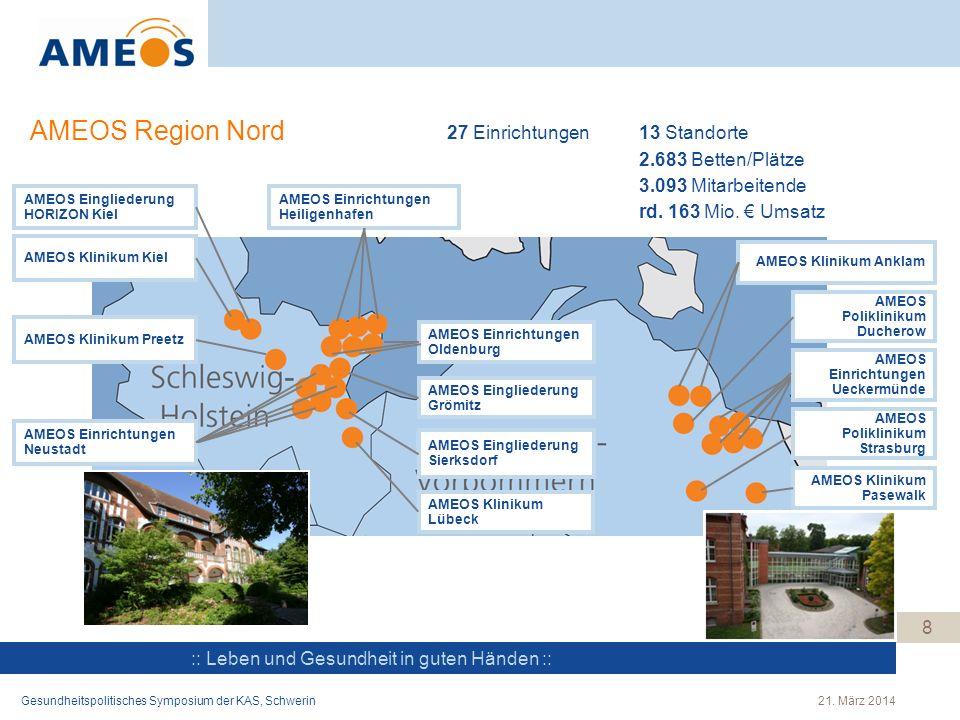 :: Leben und Gesundheit in guten Händen :: AMEOS Region Nord Gesundheitspolitisches Symposium der KAS, Schwerin21. März 2014 8 AMEOS Klinikum Anklam A