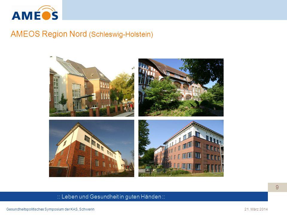 :: Leben und Gesundheit in guten Händen :: 9 AMEOS Region Nord (Schleswig-Holstein) Gesundheitspolitisches Symposium der KAS, Schwerin21. März 2014
