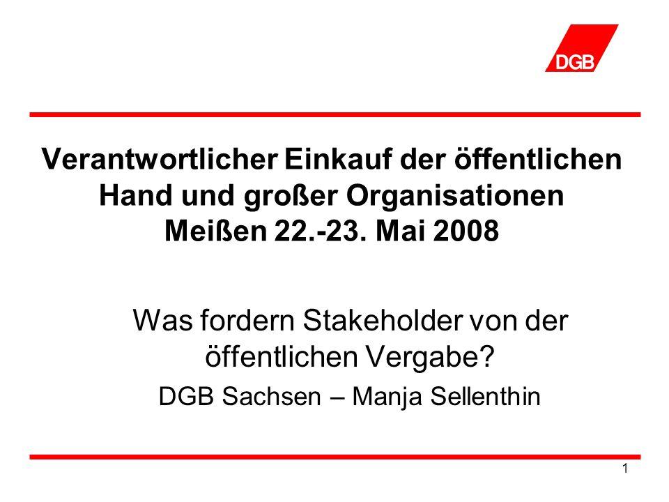 12 Ausweitung der Branchen Ausweitung der Branchen, die unter ein entsprechendes Vergabegesetz fallen der Geltungsbereich sollte sich nicht nur auf das Baugewerbe, sondern auch auf das Liefer,- Verkehrs,- Entsorgungs- und Dienstleistungsgewerbe beziehen Berlin hat alle Branchen mit in das Vergabegesetz aufgenommen
