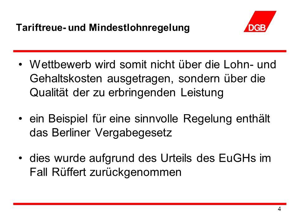 4 Tariftreue- und Mindestlohnregelung Wettbewerb wird somit nicht über die Lohn- und Gehaltskosten ausgetragen, sondern über die Qualität der zu erbringenden Leistung ein Beispiel für eine sinnvolle Regelung enthält das Berliner Vergabegesetz dies wurde aufgrund des Urteils des EuGHs im Fall Rüffert zurückgenommen