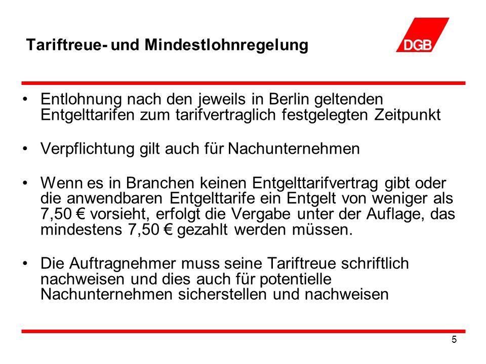 5 Tariftreue- und Mindestlohnregelung Entlohnung nach den jeweils in Berlin geltenden Entgelttarifen zum tarifvertraglich festgelegten Zeitpunkt Verpflichtung gilt auch für Nachunternehmen Wenn es in Branchen keinen Entgelttarifvertrag gibt oder die anwendbaren Entgelttarife ein Entgelt von weniger als 7,50 vorsieht, erfolgt die Vergabe unter der Auflage, das mindestens 7,50 gezahlt werden müssen.