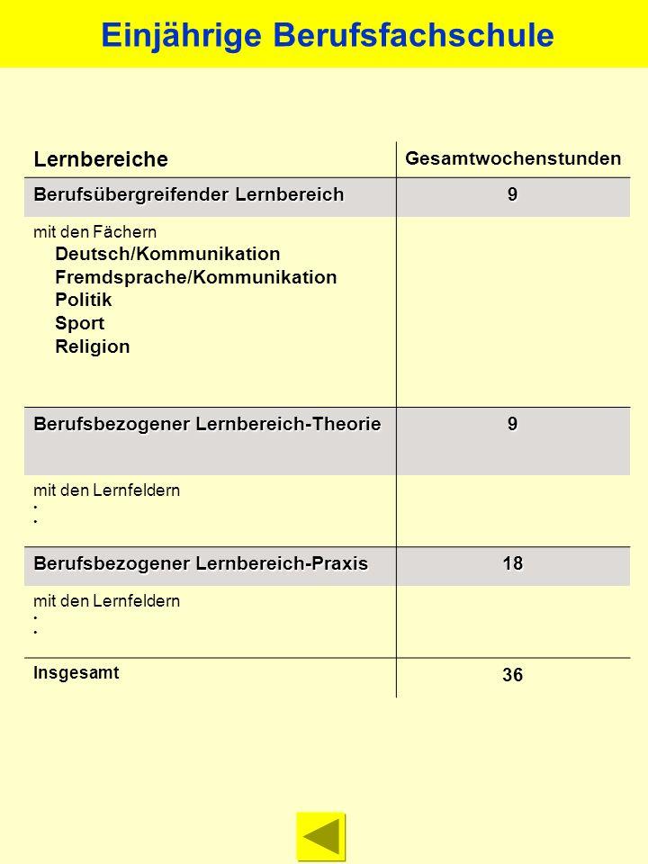 Lernbereiche Gesamtwochenstunden Berufsübergreifender Lernbereich 9 mit den Fächern Deutsch/Kommunikation Fremdsprache/Kommunikation Politik Sport Rel