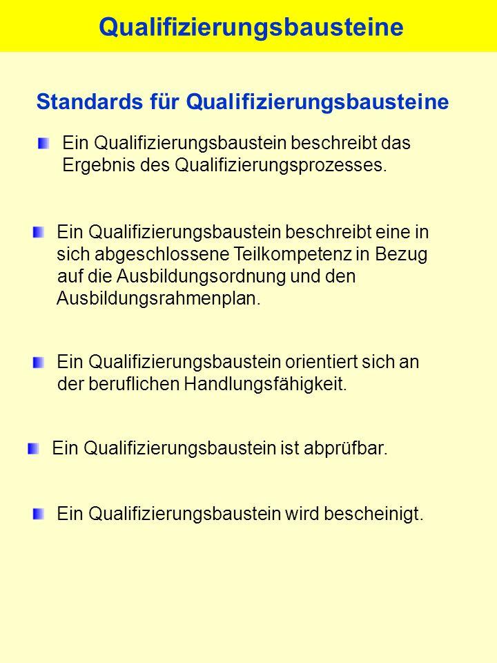Ein Qualifizierungsbaustein beschreibt das Ergebnis des Qualifizierungsprozesses. Ein Qualifizierungsbaustein beschreibt eine in sich abgeschlossene T