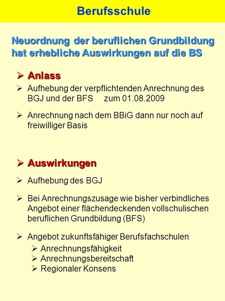 Anlass Anlass Aufhebung der verpflichtenden Anrechnung des BGJ und der BFS zum 01.08.2009 Anrechnung nach dem BBiG dann nur noch auf freiwilliger Basi