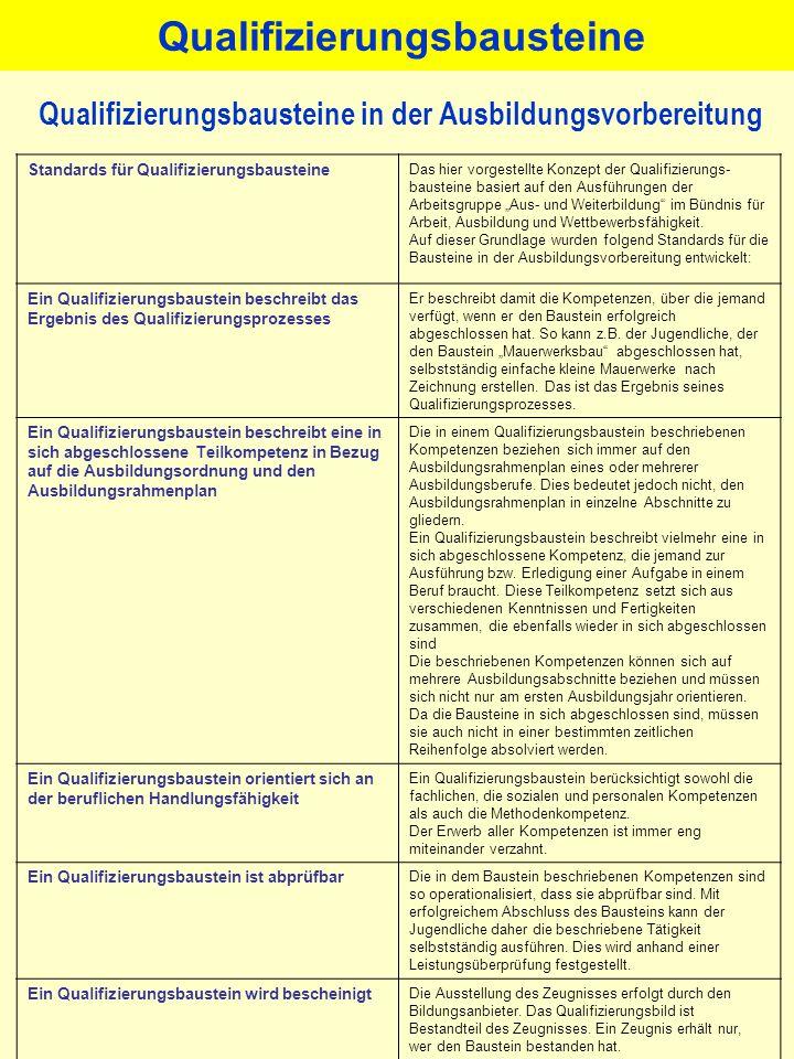 Qualifizierungsbausteine Qualifizierungsbausteine in der Ausbildungsvorbereitung Standards für Qualifizierungsbausteine Das hier vorgestellte Konzept
