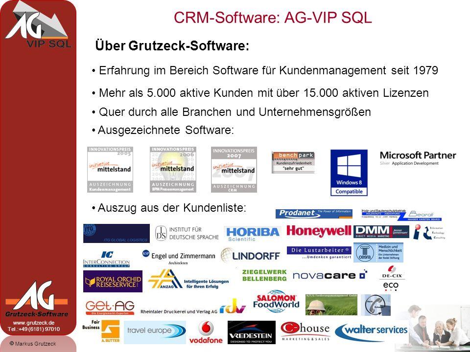 CRM-Software: AG-VIP SQL 1 Markus Grutzeck www.grutzeck.de Tel.:+49 (6181) 97010 Über Grutzeck-Software: Erfahrung im Bereich Software für Kundenmanagement seit 1979 Mehr als 5.000 aktive Kunden mit über 15.000 aktiven Lizenzen Quer durch alle Branchen und Unternehmensgrößen Ausgezeichnete Software: Auszug aus der Kundenliste: