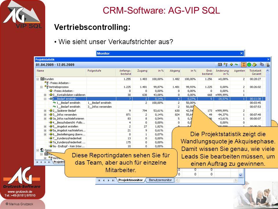 CRM-Software: AG-VIP SQL 14 Markus Grutzeck www.grutzeck.de Tel.:+49 (6181) 97010 Vertriebscontrolling: Wie sieht unser Verkaufstrichter aus.