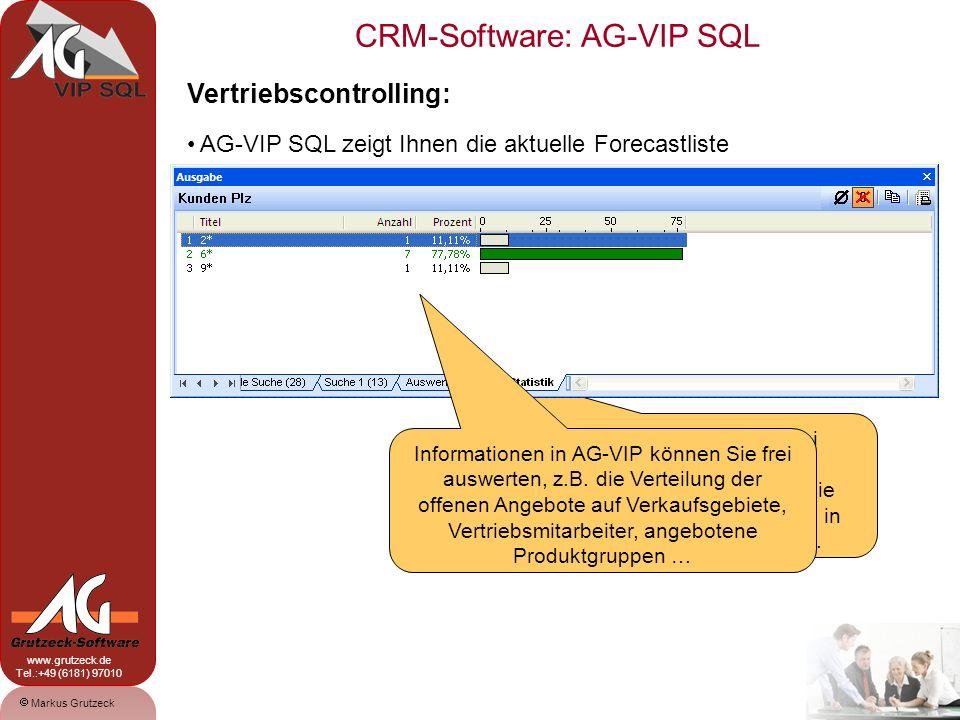 CRM-Software: AG-VIP SQL 15 Markus Grutzeck www.grutzeck.de Tel.:+49 (6181) 97010 Vertriebscontrolling: AG-VIP SQL zeigt Ihnen die aktuelle Forecastliste Die Felder je Vorgang sind frei definierbar.
