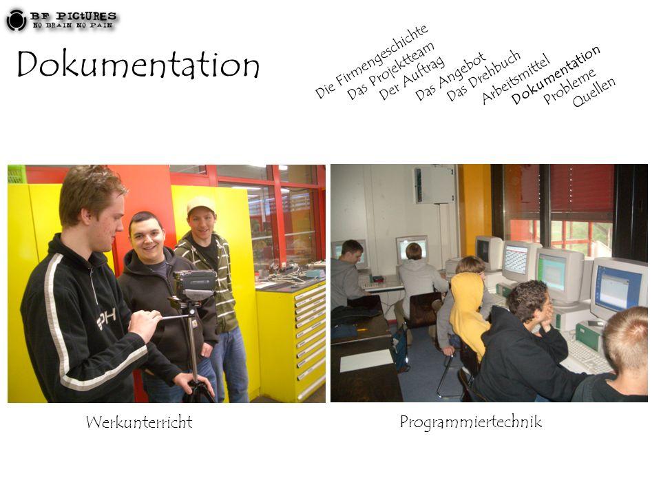 Dokumentation WerkunterrichtProgrammiertechnik Die Firmengeschichte Das Projektteam Der Auftrag Das Angebot Das Drehbuch Arbeitsmittel Dokumentation P