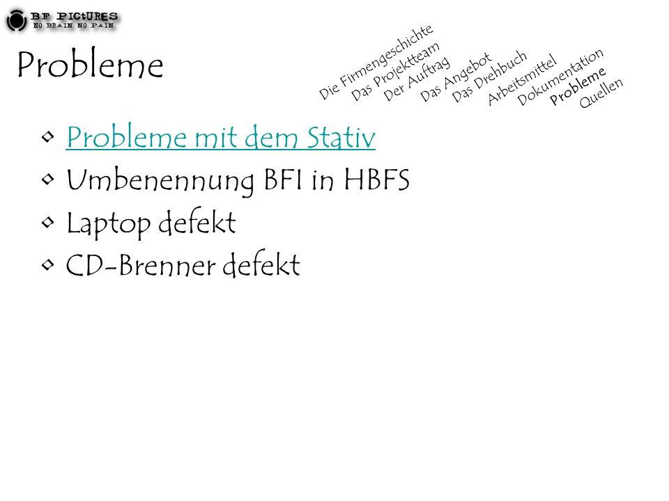 Probleme Probleme mit dem Stativ Umbenennung BFI in HBFS Laptop defekt CD-Brenner defekt Die Firmengeschichte Das Projektteam Der Auftrag Das Angebot Das Drehbuch Arbeitsmittel Dokumentation Probleme Quellen