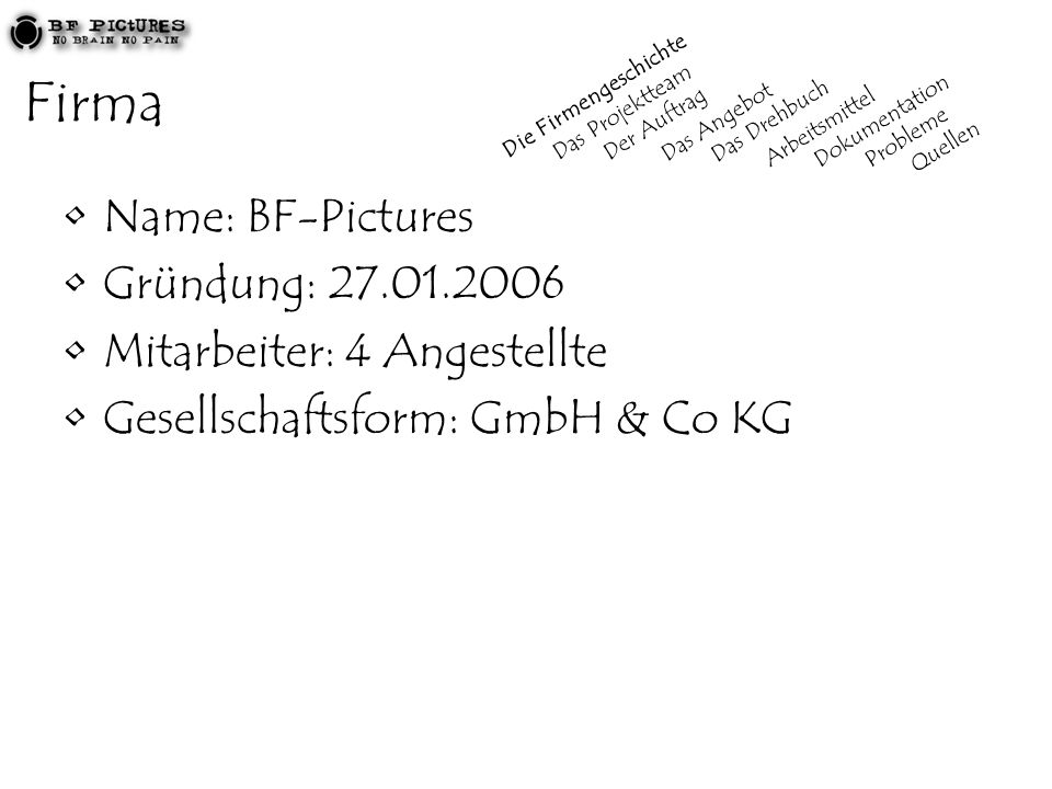 Firma Name: BF-Pictures Gründung: 27.01.2006 Mitarbeiter: 4 Angestellte Gesellschaftsform: GmbH & Co KG Die Firmengeschichte Das Projektteam Der Auftrag Das Angebot Das Drehbuch Arbeitsmittel Dokumentation Probleme Quellen
