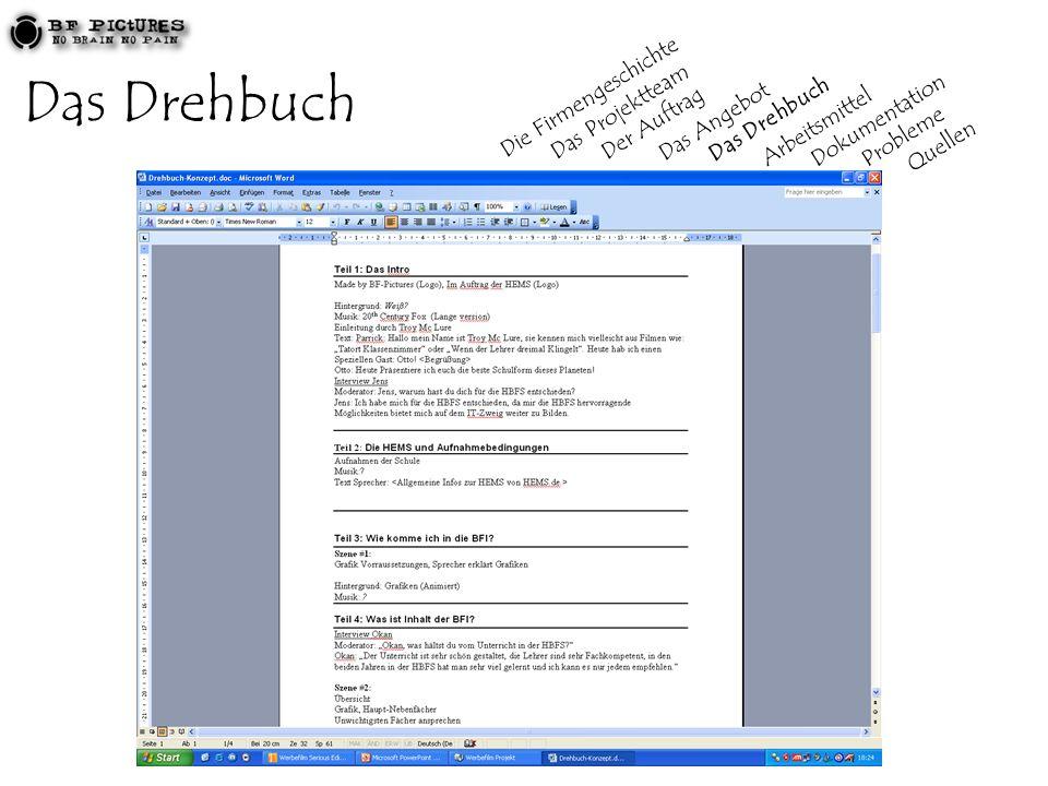 Das Drehbuch Die Firmengeschichte Das Projektteam Der Auftrag Das Angebot Das Drehbuch Arbeitsmittel Dokumentation Probleme Quellen