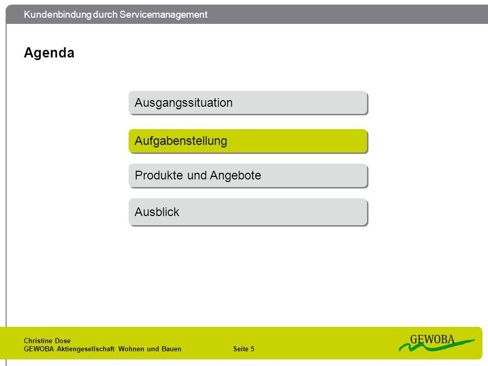 Kundenbindung durch Servicemanagement Christine Dose GEWOBA Aktiengesellschaft Wohnen und Bauen Seite 5 Agenda Aufgabenstellung Ausgangssituation Prod