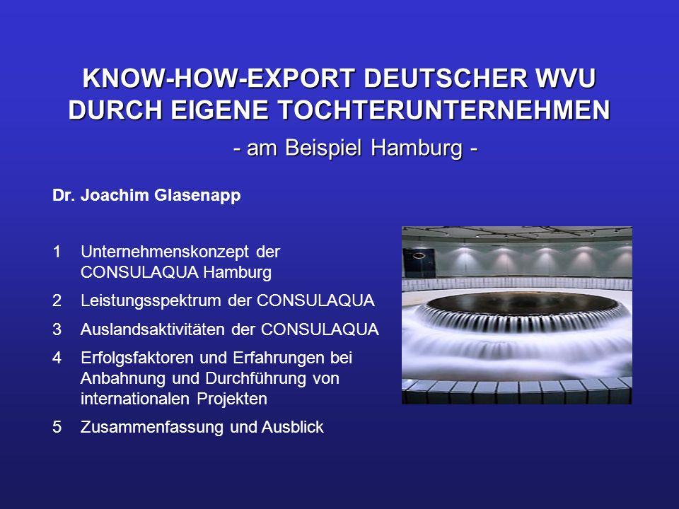 KNOW-HOW-EXPORT DEUTSCHER WVU DURCH EIGENE TOCHTERUNTERNEHMEN Dr. Joachim Glasenapp 1 Unternehmenskonzept der CONSULAQUA Hamburg 2 Leistungsspektrum d