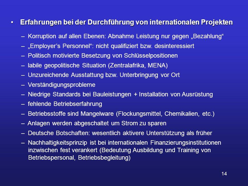 14 Erfahrungen bei der Durchführung von internationalen Projekten Erfahrungen bei der Durchführung von internationalen Projekten – Korruption auf alle