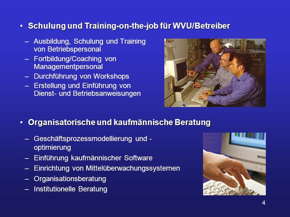 4 –Ausbildung, Schulung und Training von Betriebspersonal –Fortbildung/Coaching von Managementpersonal –Durchführung von Workshops –Erstellung und Ein