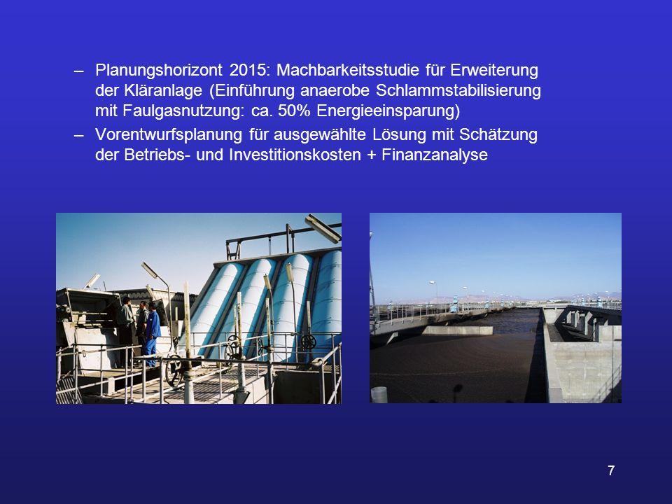 7 –Planungshorizont 2015: Machbarkeitsstudie für Erweiterung der Kläranlage (Einführung anaerobe Schlammstabilisierung mit Faulgasnutzung: ca. 50% Ene