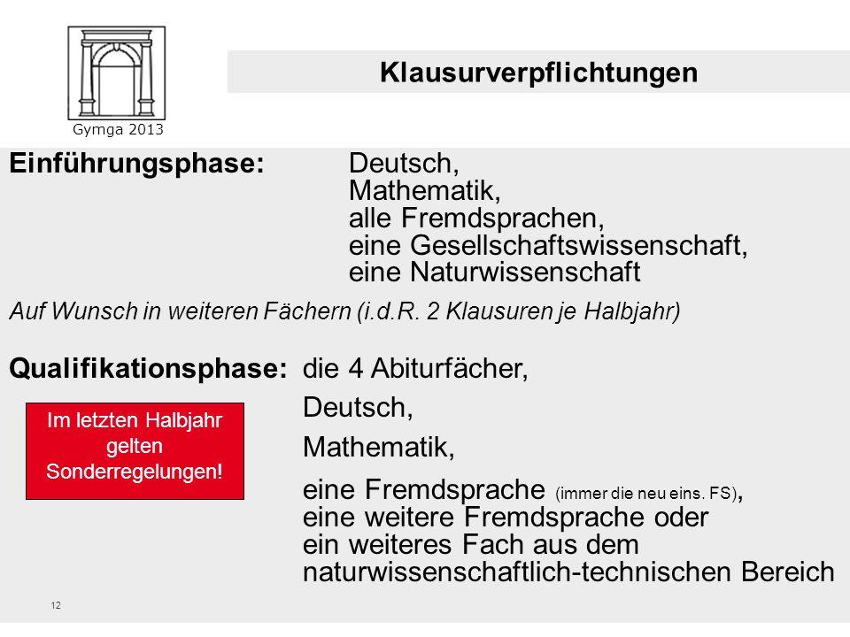 Gymga 2013 11 Die Qualifikationsphase – Pflichtfächer (als Grundkurs oder Leistungskurs) FachQ1Q2 DeutschXXX X eine FremdspracheXXX X Kunst oder Musik