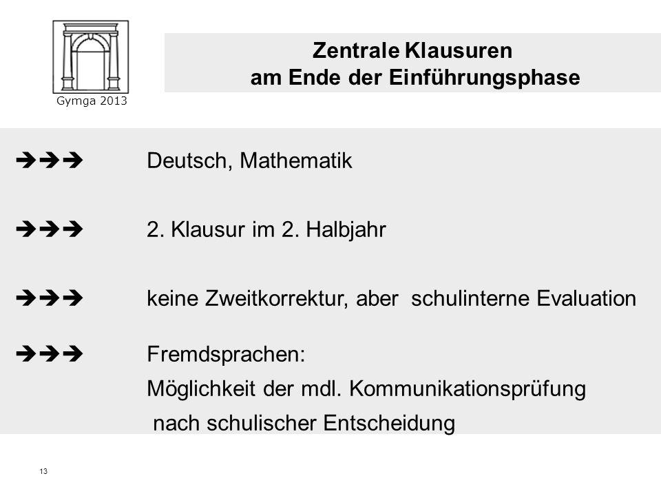 Gymga 2013 12 Klausurverpflichtungen Einführungsphase: Deutsch, Mathematik, alle Fremdsprachen, eine Gesellschaftswissenschaft, eine Naturwissenschaft
