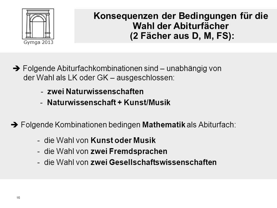 Gymga 2013 14 Zwei Fächer aus dem Kanon Deutsch, Mathematik, Fremdsprache. Abdeckung aller drei Aufgabenfelder - Ku/Mu können das erste Aufgabenfeld a