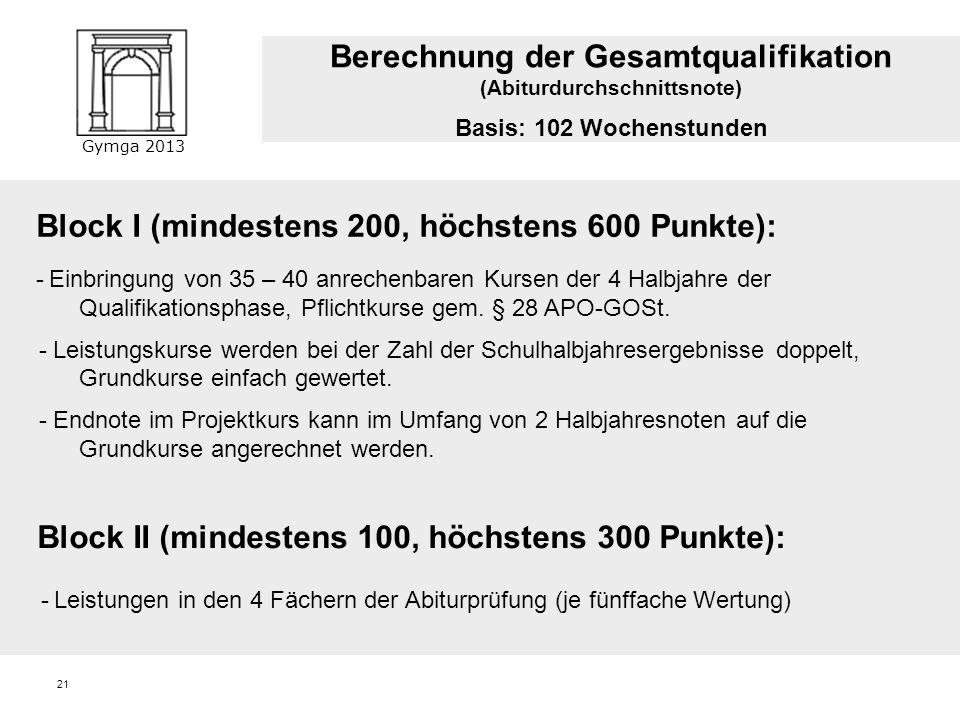 Gymga 2013 Berechnung der Punktzahl im Block 1: Die gymnasiale Oberstufe - Zulassung 35 – 40 Kurse müssen gewertet werden: durchschnittliche Punktzahl